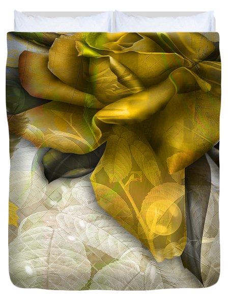 Duvet Cover featuring the digital art Autumn Flower by Eleni Mac Synodinos