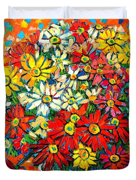 Autumn Flowers Colorful Daisies  Duvet Cover by Ana Maria Edulescu