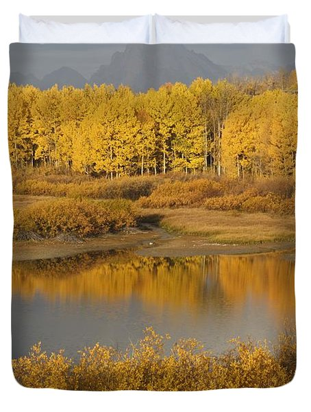 Autumn Foliage Surrounds A Pool In The Duvet Cover by David Ponton