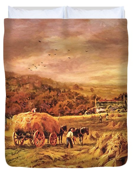 Autumn Folk Art - Haying Time Duvet Cover