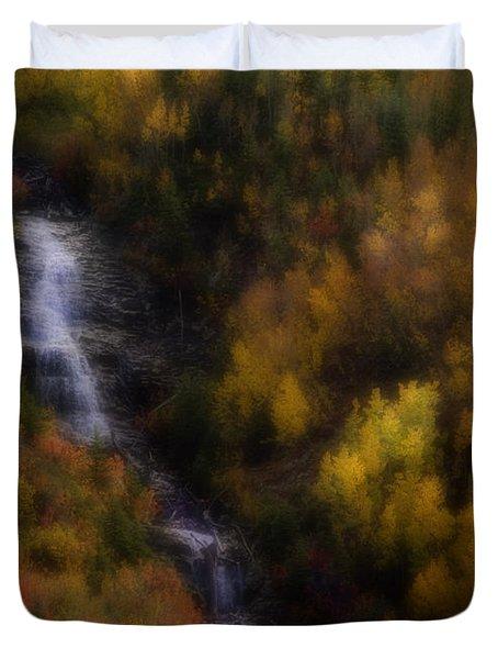 Duvet Cover featuring the photograph Autumn Forest Falls by Ellen Heaverlo