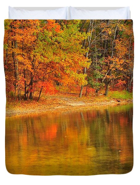 Autumn Forest Reflection Duvet Cover by Terri Gostola