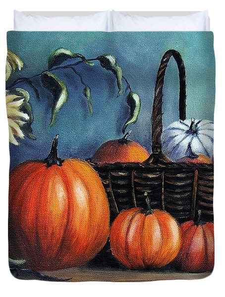 Duvet Cover featuring the painting Autumn Gifts by Vesna Martinjak