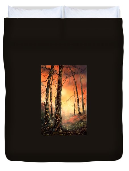 Duvet Cover featuring the painting Autumn Glow by Jean Walker