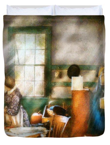 Autumn - Halloween - Carving A Pumpkin Duvet Cover by Mike Savad
