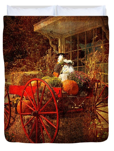 Autumn Harvest At Brewster General Duvet Cover by Lianne Schneider