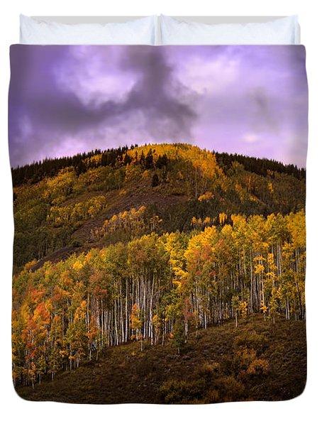 Duvet Cover featuring the photograph Autumn Hillside by Ellen Heaverlo