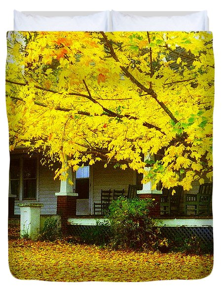 Duvet Cover featuring the photograph Autumn Homestead by Rodney Lee Williams