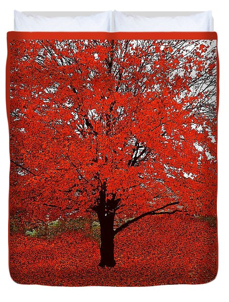 Red Tree Impressions #1 Red Duvet Cover