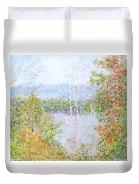 Autumn By The Lake In New Hampshire Duvet Cover
