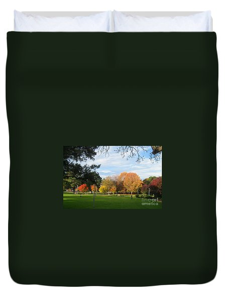 Duvet Cover featuring the photograph Autumn In The Park by Leanne Seymour