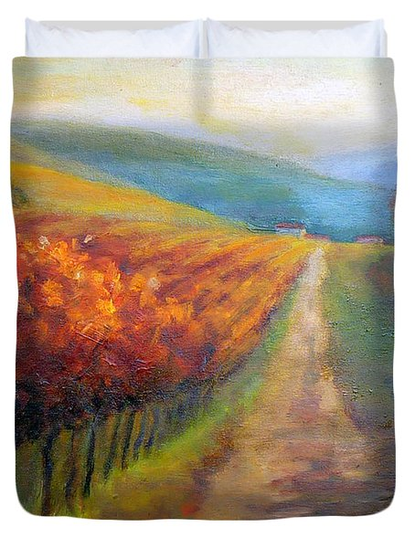 Autumn In The Vineyard Duvet Cover by Carolyn Jarvis