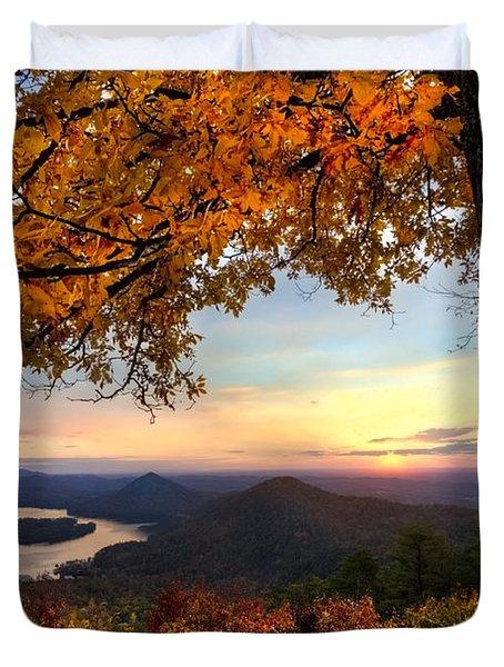 Autumn Lake Duvet Cover by Debra and Dave Vanderlaan