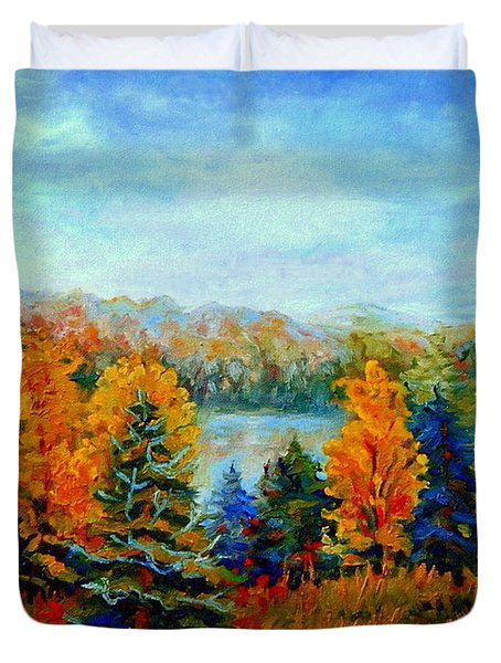 Autumn Landscape Quebec Red Maples And Blue Spruce Trees Duvet Cover by Carole Spandau