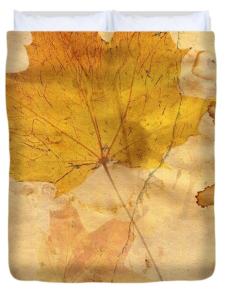 Autumn Leaf In Grunge Style Duvet Cover by Michal Boubin