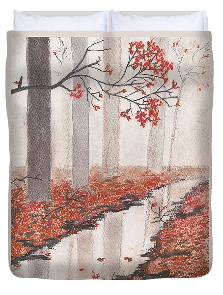Duvet Cover featuring the pastel Autumn Leaves by David Jackson