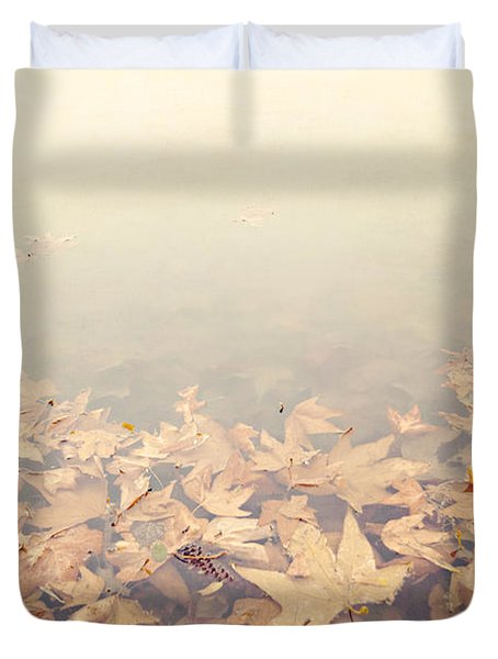 Autumn Leaves Floating In The Fog Duvet Cover by Angela A Stanton