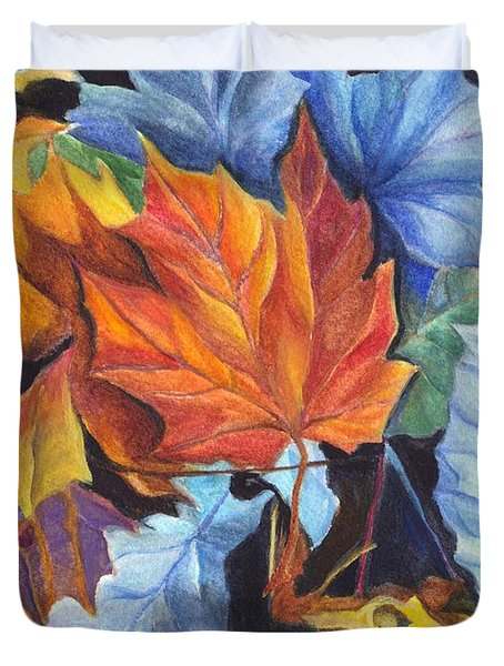 Autumn Leaves Of Red And Gold Duvet Cover by Carol Wisniewski