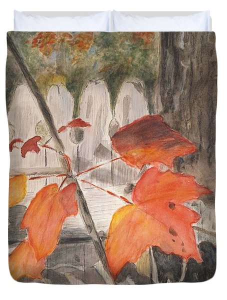 Duvet Cover featuring the painting Autumn Leaves On Belmont St by Linda Feinberg