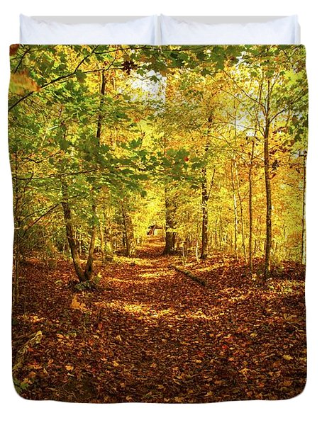 Autumn Leaves Pathway  Duvet Cover by Jerry Cowart