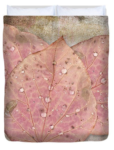 Autumn Leaves With Water Drops  Duvet Cover by Angela A Stanton