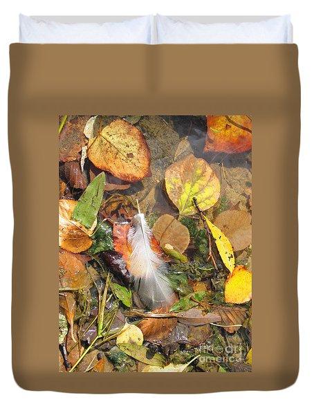 Duvet Cover featuring the photograph Autumn Leavings by Ann Horn