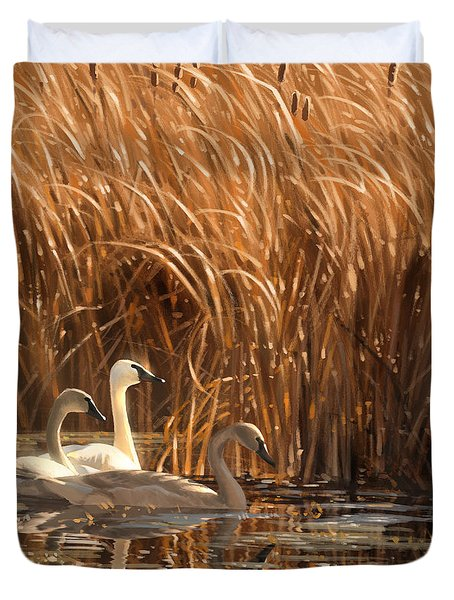 Autumn Light- Trumpeter Swans Duvet Cover