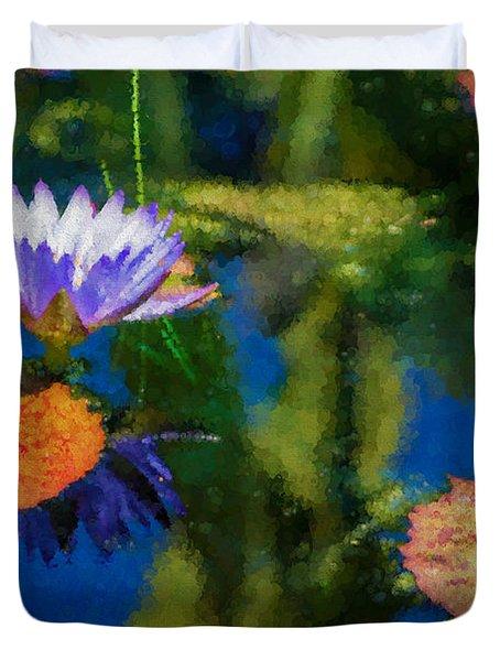 Autumn Lily Pad Impressions Duvet Cover by Georgia Mizuleva