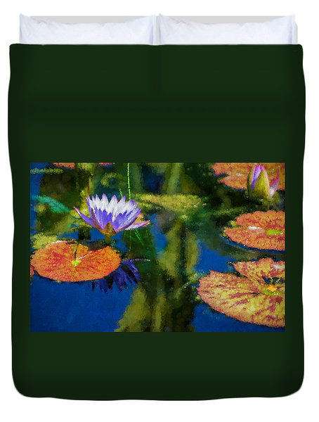 Autumn Lily Pad Impressions Duvet Cover