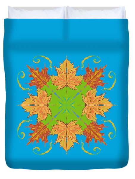 Duvet Cover featuring the digital art Autumn Maple Leaves Abstract by MM Anderson