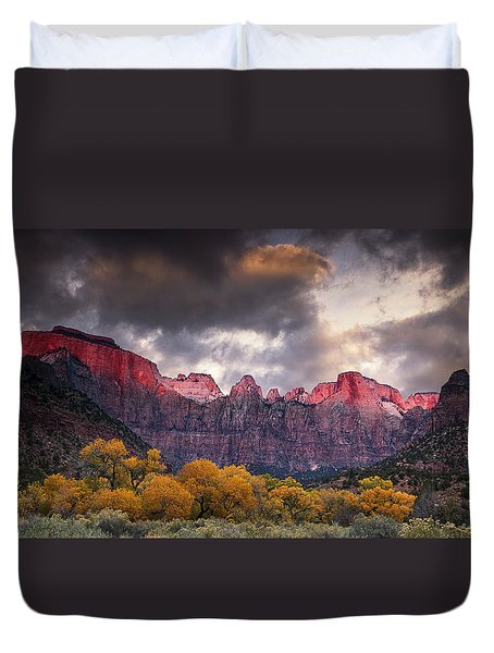 Duvet Cover featuring the photograph Autumn Morning In Zion by Andrew Soundarajan