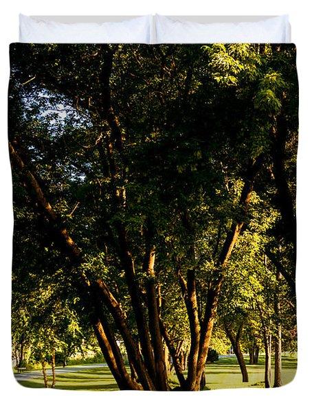 Autumn Morning Stroll Duvet Cover