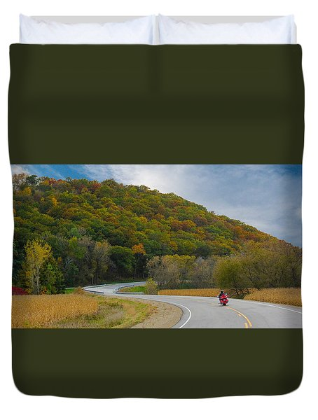 Duvet Cover featuring the photograph Autumn Motorcycle Rider / Orange by Patti Deters