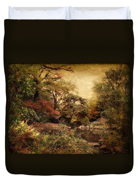 Duvet Cover featuring the photograph Autumn On Canvas by Jessica Jenney