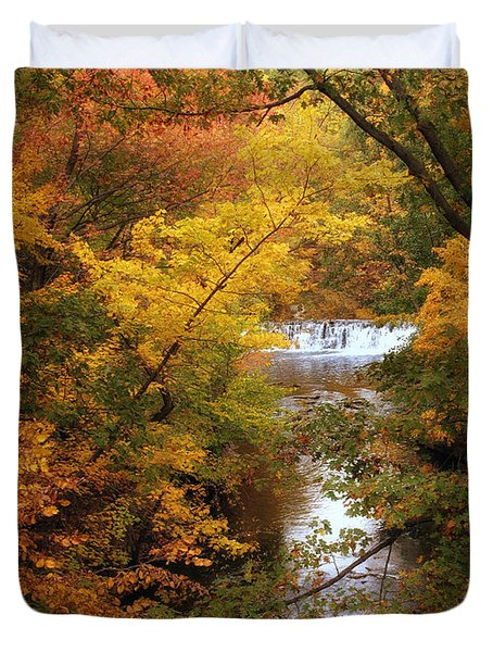 Duvet Cover featuring the photograph Autumn On Display by Jessica Jenney