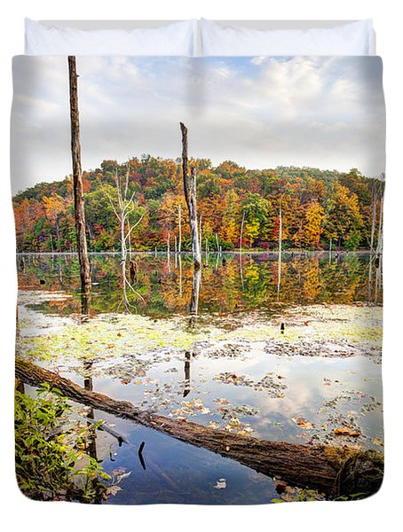 Autumn On Monksville Reservoir - Long Pond Ironworks Duvet Cover by Gary Heller