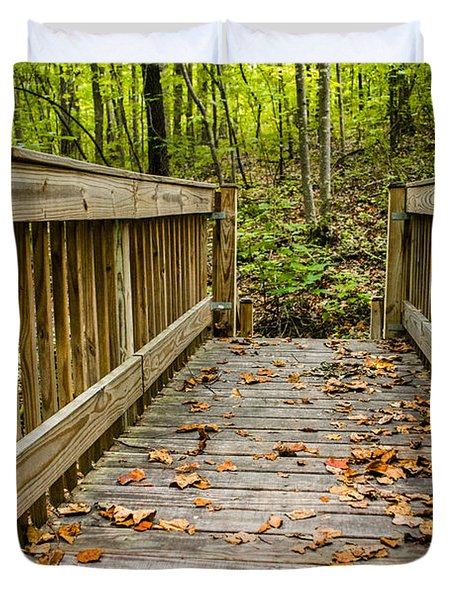 Autumn On The Bridge Duvet Cover
