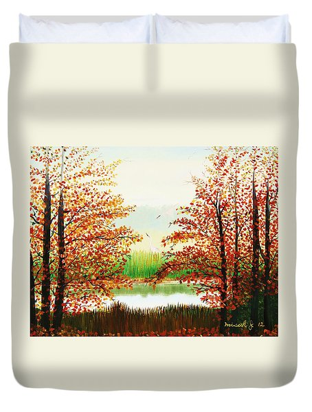 Autumn On The Ema River Estonia Duvet Cover