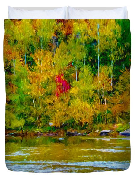 Autumn On The River Duvet Cover by Ken Frischkorn