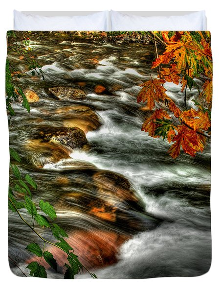 Autumn On The River Duvet Cover by Randy Hall