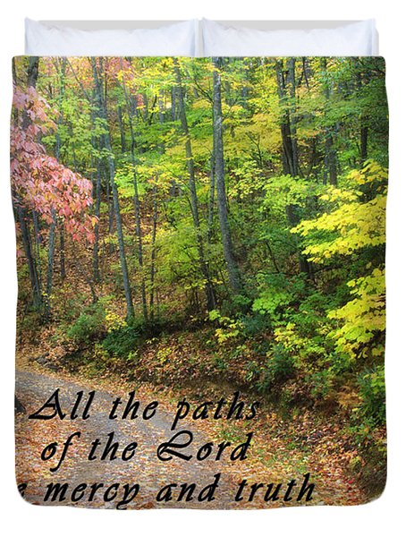 Autumn Path With Scripture Duvet Cover