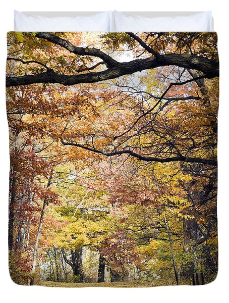 Autumn Pedestrian Path Duvet Cover