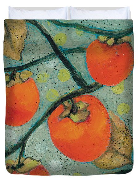 Autumn Persimmons Duvet Cover by Jen Norton