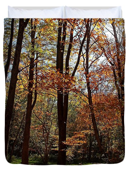 Duvet Cover featuring the photograph Autumn Picnic by Debbie Oppermann
