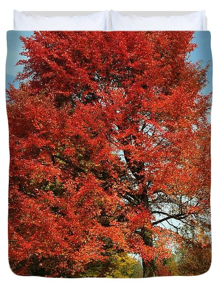 Autumn Red Duvet Cover by Frozen in Time Fine Art Photography