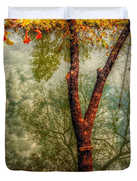 Duvet Cover featuring the photograph Autumn Reflection  by Peggy Franz