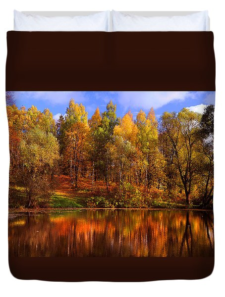 Autumn Reflections Duvet Cover by Jenny Rainbow
