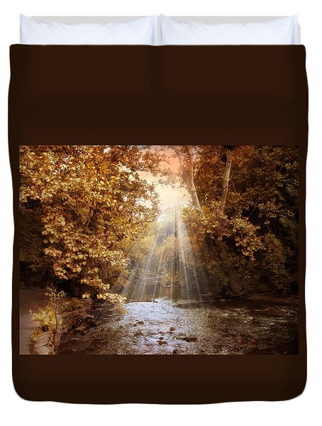 Duvet Cover featuring the photograph Autumn River Light by Jessica Jenney