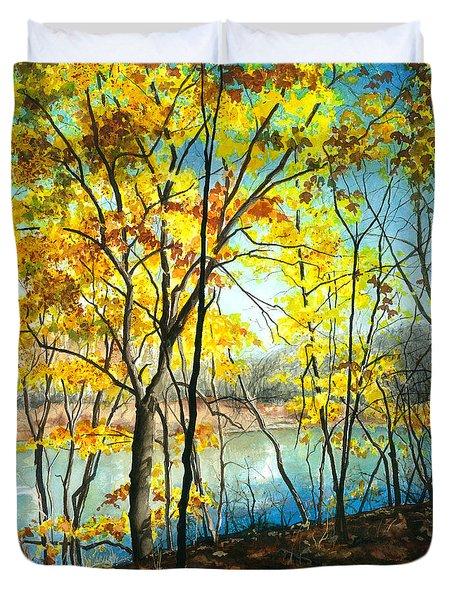 Autumn River Walk Duvet Cover