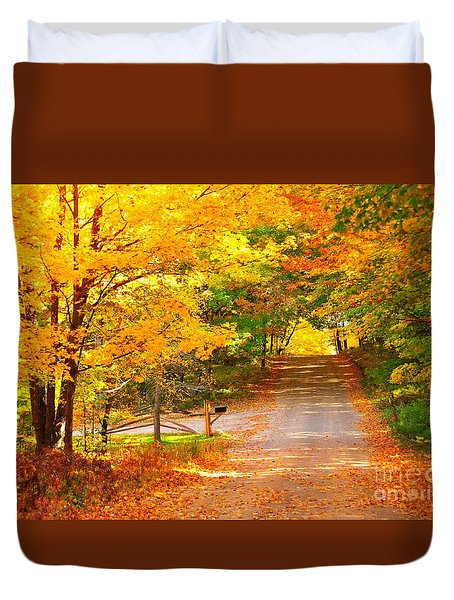 Autumn Road Home Duvet Cover by Terri Gostola